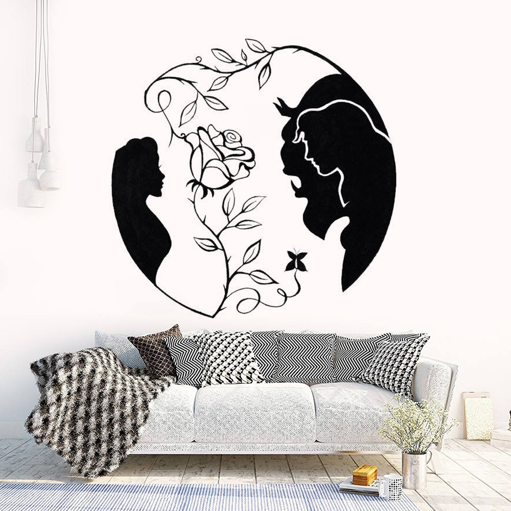 Beauty and the Beast Vinyl Wall Sticker Romantic Love Home Decoration Rose Wall Decal Vinyl Famous Movie Wall Poster AZ152 in Wall Stickers from Home Garden