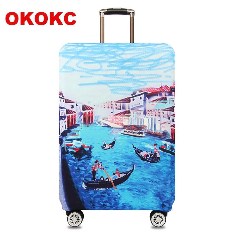 OKOKC Veneza Padrão Elastic Grosso Mala de Viagem Capa Protetora Bagagem Aplicar para 18 '' -32 '' Caso Mala, Acessórios de viagem