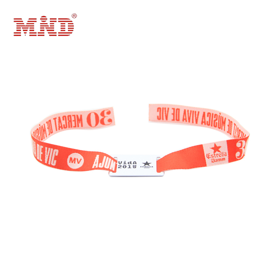 Access Control Fast Deliver Customized Color 13.56mhz S50/em4100 Rfid Nylon Woven Rfid Wristband Card For Access Contron Smart Rfid Wristband