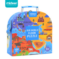 MiDeer 100Pcs Children Cognitive Educational Puzzle Toys Human Geography World Map Floor Puzzle Game Kids Gift With Box