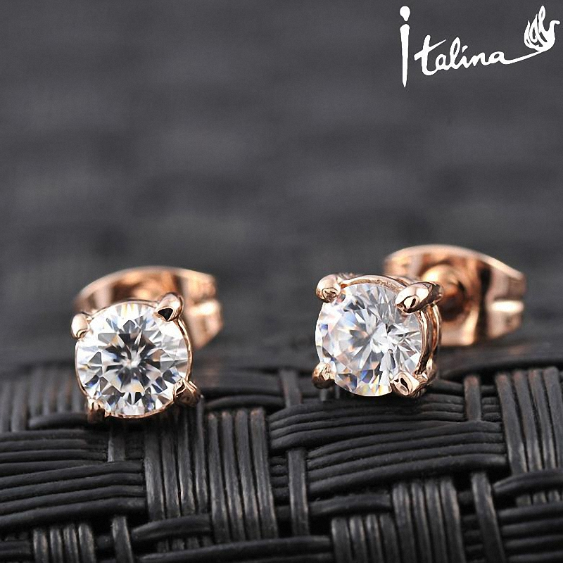 Italina Rigant  18K Real Rose Gold Plated Stud AAA  Zirconia Earrings  With  Environmental Alloy#RG81270