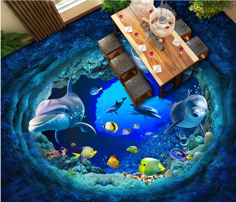 luxury flooring wall paper Custom self-adhesive floor wallpaper dolphin 3d wallpaper living room waterproof wood flooring custom mural 3d flooring picture pvc self adhesive wall paper bedroom sea world dolphin decor painting 3d wall murals wallpaper