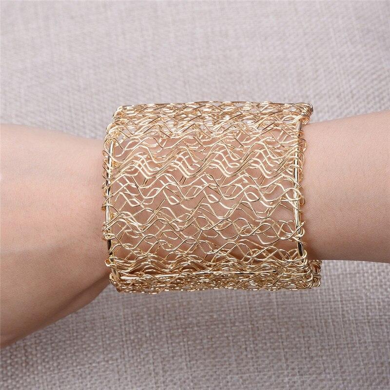 Punk Style Vintage Multilayer Wide Bangle Hollow Cuff Retro Braid Big Gold Color Charm Bracelet For Women