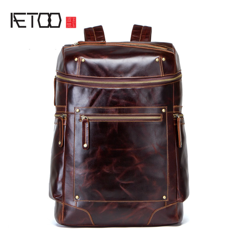 AETOO New men's shoulder bag European and American retro crazy leather men's bag multi-function backpack