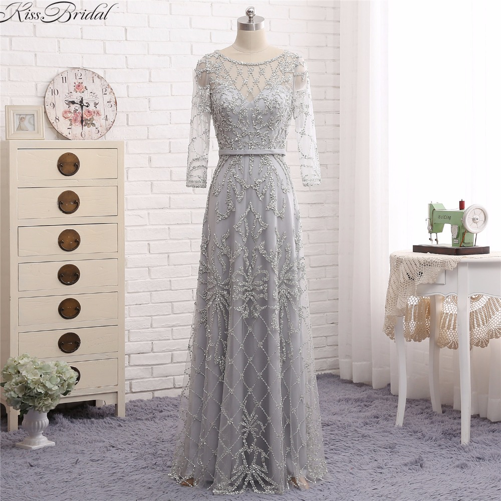 Latest Style Three Quarter Sleeve   Evening     Dresses   Long 2018 Beaded Tulle Formal Party Gowns For Women Prom   Dress