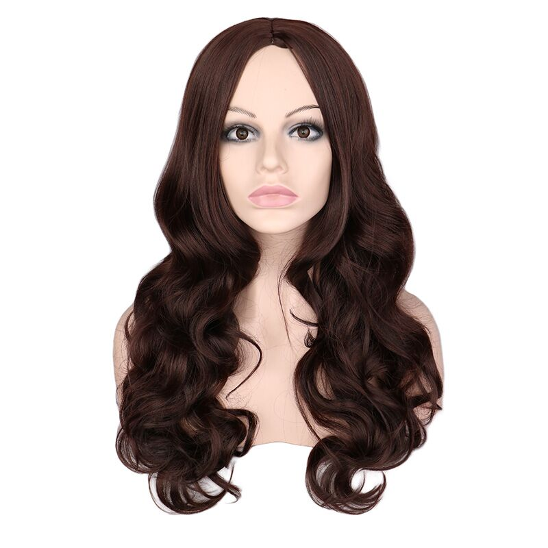 QQXCAIW Women Long Wavy Wig Cosplay Black Red Pink Blonde Light Brown Dark Brown Heat Resistant Synthetic Hair Wigs