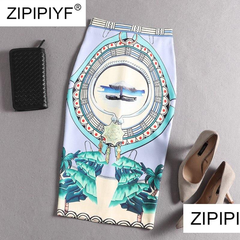 2019 Runway Women Skirts Summer Print Flowers Pencil Skirt Casual Skirts Knee Length Plus Size Faldas