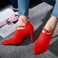 AIWEIYi Женщины Насосы Высокие Каблуки Мода Острым Носом Обувь Тонкий Высокий Каблук Платформа Насос Обувь Молния Обувь для Женщин 34-43