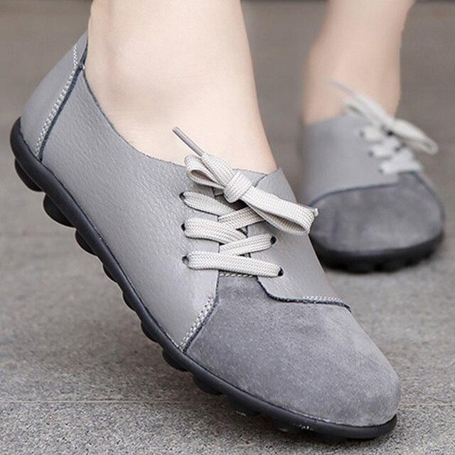 761909168 حذاء كاجوال النساء جولة تو الصليب تعادل المتسكعون خليط غاري قارب الأحذية  الشقق زائد حجم 35-44 حقيقية أحذية من الجلد امرأة