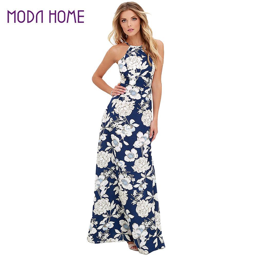 Women Summer Beach Boho Maxi Dress 2018 High Quality Brand Striped ...