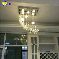FUMAT Modern Brief Living Room K9 Crystal Chandeliers Rectangle LED Dimmer GU10 Lustre Home Decor Wave Crystal Lights Chandelier