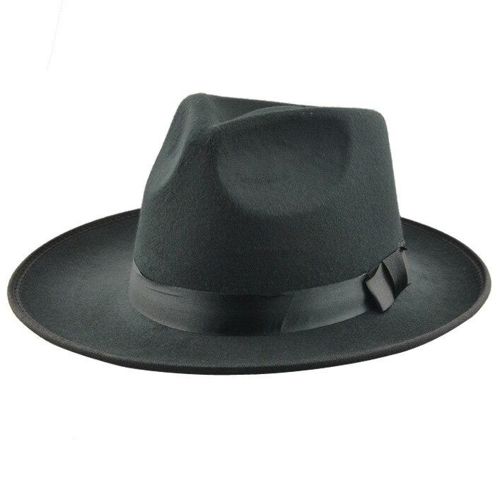 fa99892cfdf42 Aliexpress.com  Comprar Retro de moda Vintage disquete de ala ancha sombrero  de fieltro para hombres y mujeres de lana negro sombreros sombrero Trilby de  ...