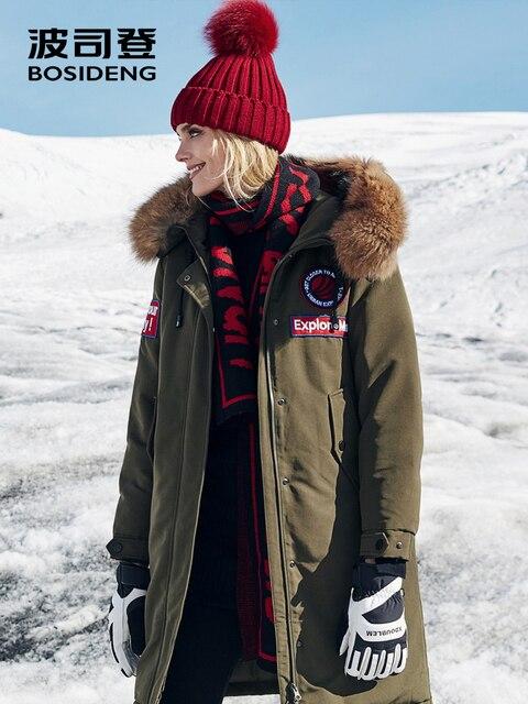 BOSIDENG 2018 новый 90% куртка на гусином пуху для женщин жестковатые зимние исследовать более водостойкие воротник из натурального меха ветрозащитный B80142150