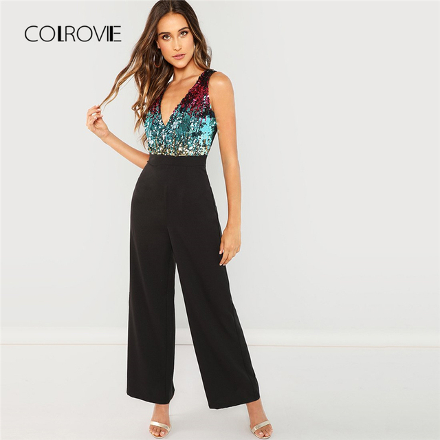c7bb16532e25 COLROVIE Black Bodice Color Block Wrap Elegant Sequin Jumpsuit Women 2018  Sleeveless Office Overalls Female Sexy