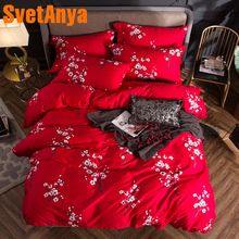 2018 Plum Blossom Red Bedding Set 4Pcs Queen King Size Egyptian Cotton Fabric Duvet Cover Flat Sheet Pillow Cases