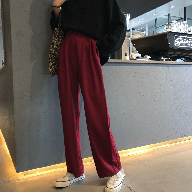 Mazefeng New Women Vintage Fashion Loose Style Pants Ladies Sports Style Casual Straight Pants Female Wide Leg Pant Streetwear