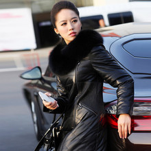 Hot 2014 New genuine leather female medium-long down coat sheepskin Genuine Leather Down Coat fox fur leather Outerwear jacket