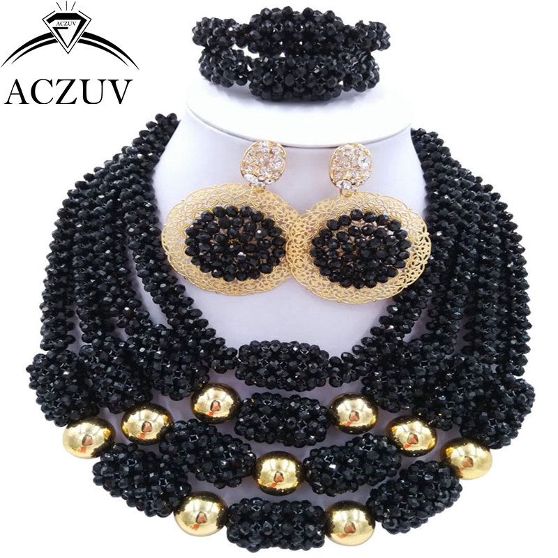 ACZUV Latest Black African Beads Bridal Wedding Jewelry Sets Nigerian Necklace and Earrings D4R017