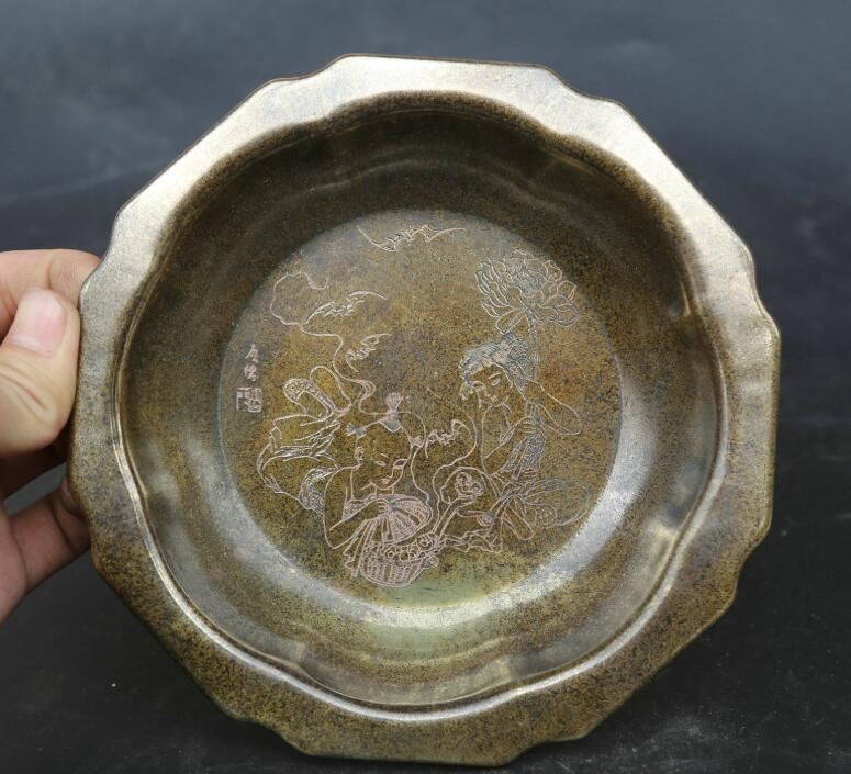 6.5Collect China Fengshui Bronze Lovable Child Boy Girl Tree Peony Tray Compote6.5Collect China Fengshui Bronze Lovable Child Boy Girl Tree Peony Tray Compote
