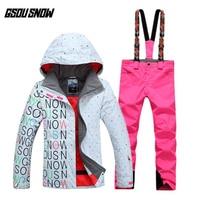 GSOU SNOW Brand Waterproof Ski Suit Women Ski Jacket Pants Winter Snowboard Jacket Pants Mountain Skiing Suit Snow Clothes