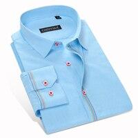 Fashion Blue Fine Plaid Men Shirt Casual Slim Fit 100 Cotton Famous Brand Boys Formal Business