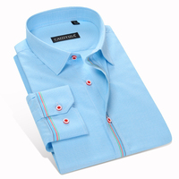 Mode Blau Feinen Plaid Men Shirt Casual Slim Fit 100% baumwolle Berühmte Marke Jungen Formal Business Männlichen Hemd Hohe qualität