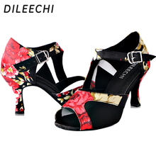 DILEECHI Chinese style Satin Women's Latin dance shoes  indoor professional fitness shoes Ballroom dancing shoes Party  Wedding