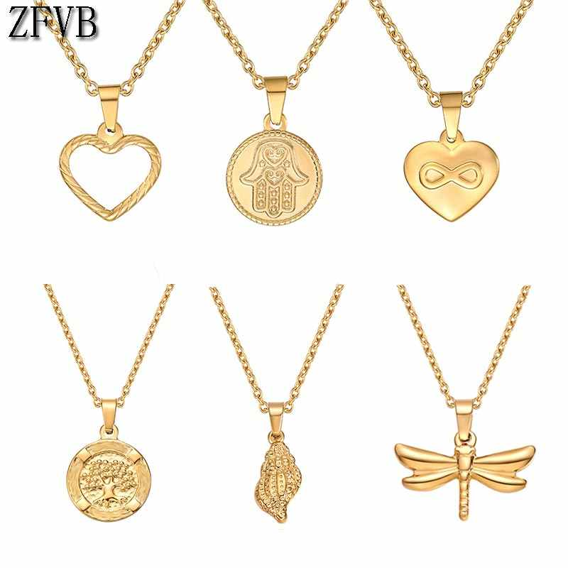 ZFVB Heart Necklace for Women Short Chain Heart star Pendant Necklace Gift  Stainless steel Necklace drop shipping