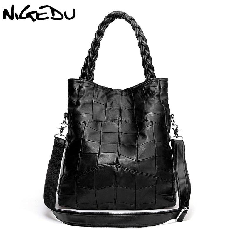 NIGEDU Brand Genuine leather women handbag lambskin Women's messenger Bags real sheepskin big bag patchwork Shoulder bag bolsas