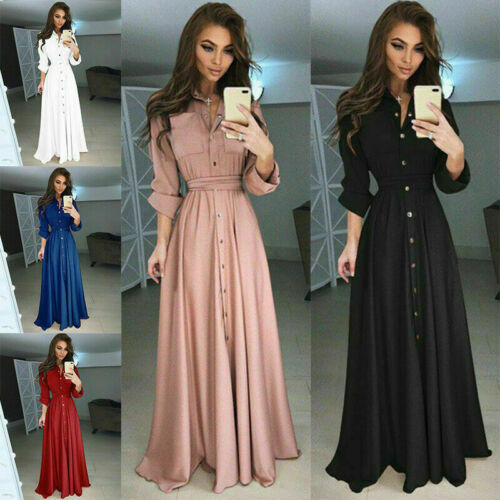 2019 Fall Vintage Fashion Solid Tunic Casual Dresses Women Dress Long Sleeve Vestidos Button Red White Black Dress Female Brand