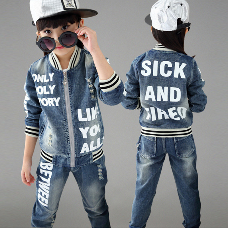 ФОТО 2017 Autumn Winter Kids Clothes Cowboy Suit 2 pcs Girls Outfits Jeans Letter Clothing Children Set 3-13 Years old Boys Clothes