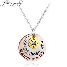 "feimeng jewelry Wanderlust Travelers Compass Necklace Hand Stamped""Not All Those Who Wander Are Lost"" Pendant Necklace"