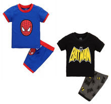 Summer Style 2016 New Kids Clothing Baby Boys Spiderman Batman Tops T-shirt Shorts Outfits 1-7T