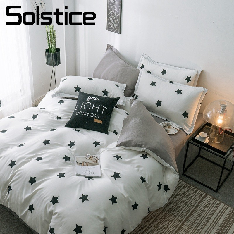 Solstice Home Textile King Queen Bedding Set White Black Star Duvet Cover Pillow Case Gray Sheet Brief Bed Linen Girl Bedclothes