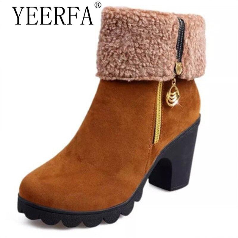 YIERFA Winter Boots Women Fashion Warm Fur Snow Boots Platform Shoes Women High Heels Botas Mujer Ankle Boots For Women Shoes 2016 rhinestone sheepskin women snow boots with fur flat platform ankle winter boots ladies australia boots bottine femme botas