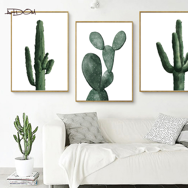 Artdom No Framed Cactus Wall Art Print Decorative Wall Painting Cactus Decoration  Canvas Art Print