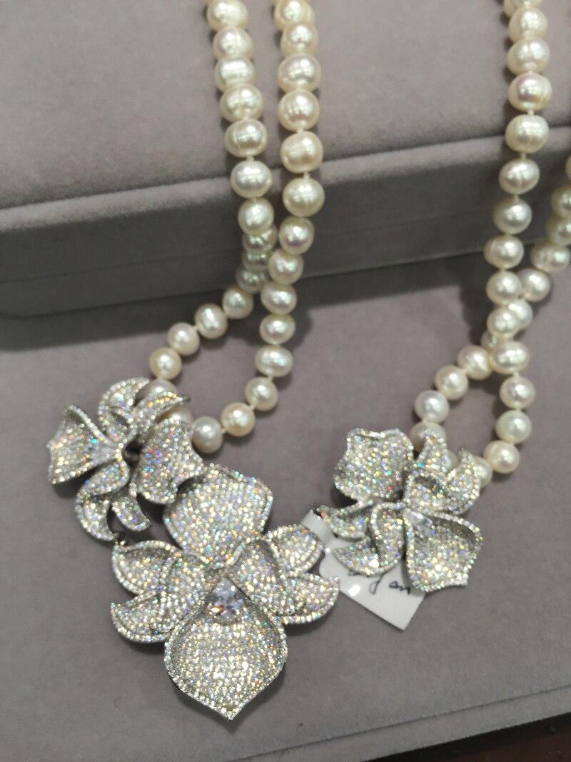 Bijoux à bricoler soi-même trouvailles & composants connecteurs pour collier 3 fleurs orchidée 925 argent avec zircon cubique pavé pierre femmes bijoux - 6