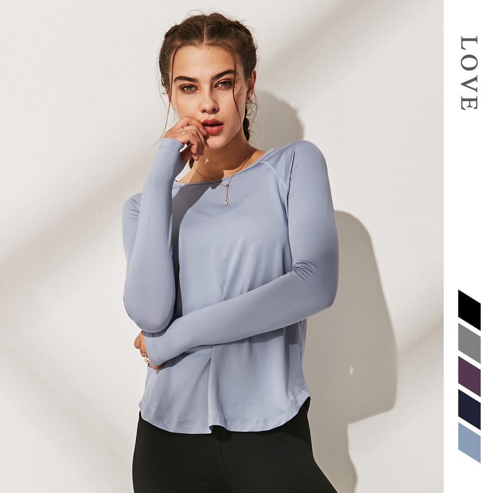 Women Gym Yoga Shirts Sportswear Loose Running Shirt Long Sleeve Workout Fitness Top Shirts Quick Dry Women Slim Sport Tank Top