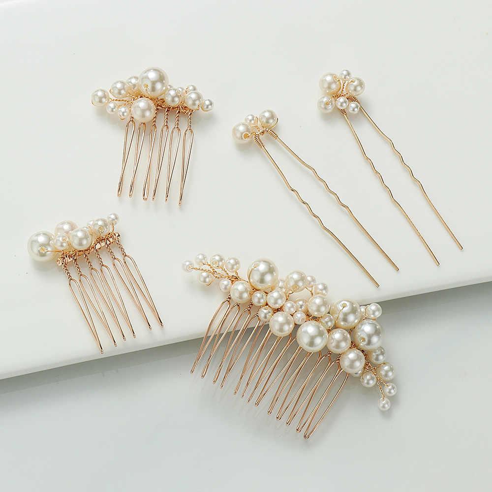 1Pc femmes perle mariée épingles à cheveux mariage nuptiale casque coiffure tiare Clips mariée cheveux accessoires mariage fête cheveux bijoux