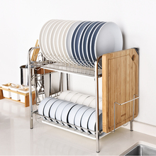 Lechefang 304 Stainless Steel Kitchen Bowl Rack, Drainage Double-decked Shelf, Airing Dishes, Chopsticks Collectio
