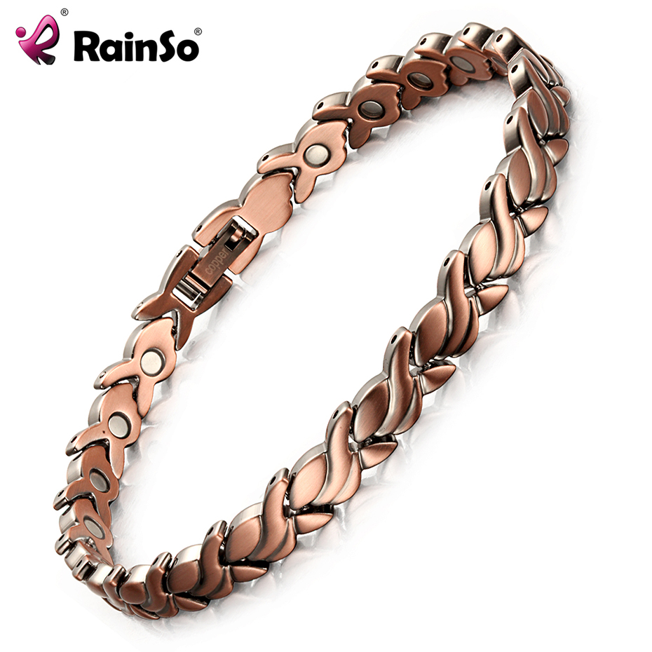 RainSo 2018 Fashion Red Copper Magnetic Bio Energy Bracelets & Bangles for Women Healing Magnet Bracelet Female Jewelry OCB-1551 rainso vintage copper magnetic bracelet for men women 2 row magnet healthy healing therapy bio energy bangles fashion jewelry
