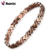 Rainso модные красные медные магнитные био энергетические браслеты