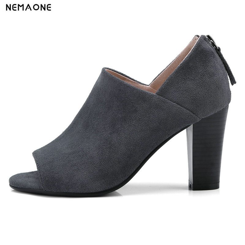 NEMAONE New flock women pumps thick high heels summer shoes woman peep toe ladies wedding shoes hee grand cross tied women sandals summer sexy square high heels flock wedding shoes woman elegant pumps ladies 3 colors xwz2049