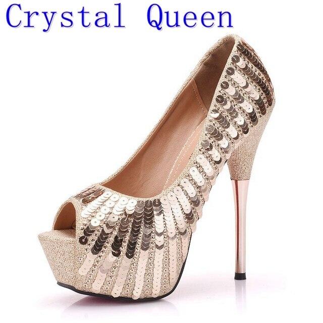 85015bf3c6 Quee cristal Que Bling Bling do Brilho do Ouro Embelezado Salto Alto Sapatos  Peep Toe Bombas