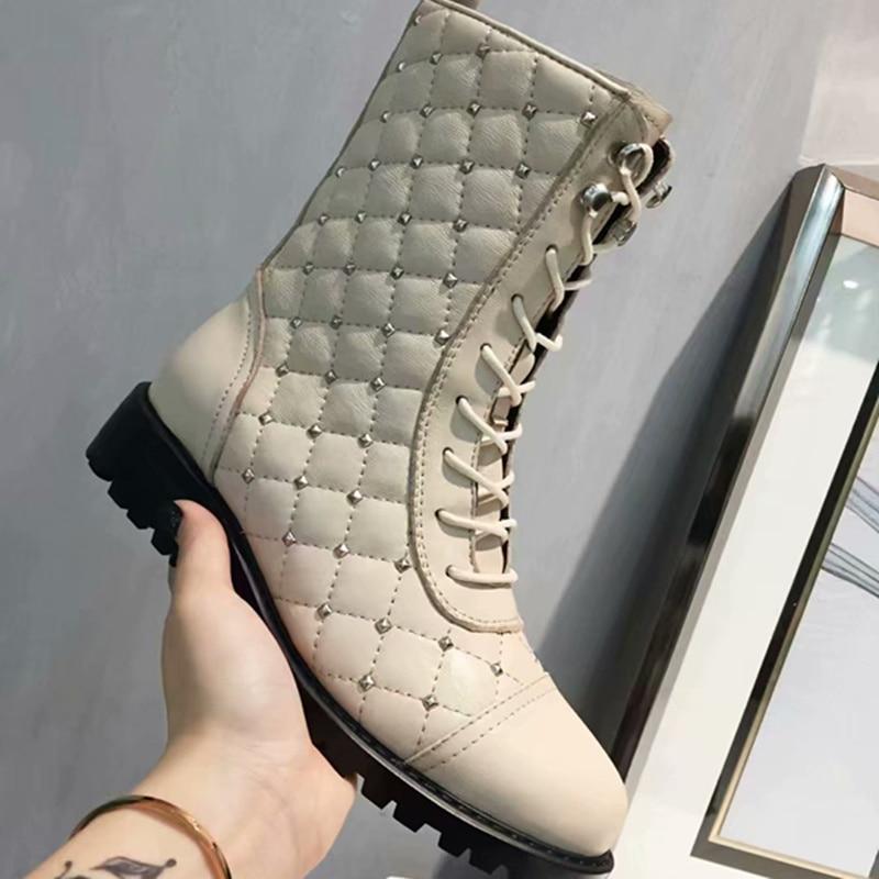 Mujer Chaussures Show Hiver Bottes Nouvelle Cheville Show Femmes Noir Botines Bota as As attaché Corss De Zapatos Marque Fraîches Feminina Arrivée Rivet qwn5116
