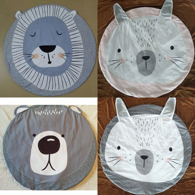 Cartoon Animals Lion Bear Rabbit Face Baby Play Mats Crawling Rug Carpet Blanket Pad Nordic Kids Room Decor Photo props