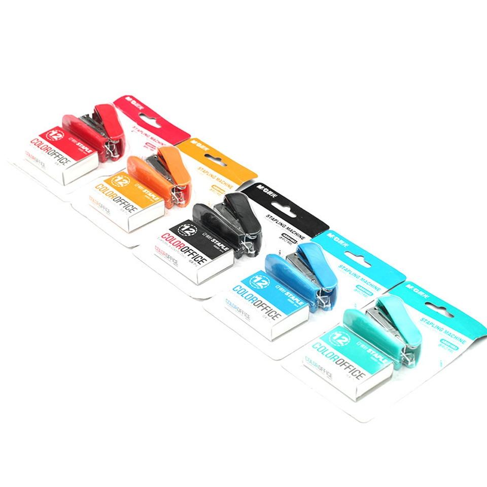 1 Set Kawaii Manual Mini Stapler Set DIY Stapler Set No.12 School Office Supplies Stationery Paper Binding Binder Book