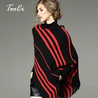 Herbst Und Winter Neue Dame High Kragen Mantel Schal Frauen Fledermaus Ärmel Fransen Unregelmäßigen Quaste Poncho Pullover Pullover