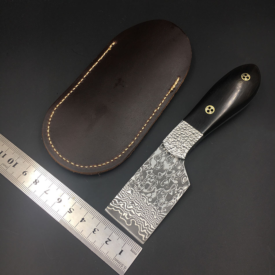 VG10 Damascus steel fixed blade hunting knife Ebony wood handle tea straight knife shovel blade leather cutting tool hx small mercenary survival hunting knife d2 steel blade fixed blade knife straight camping knives multi tactical hand tools