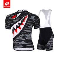 NUCKILY Men S Summer Polyester Bike Wear Sharp Tooth Design Cycling Jersey And Bib Short Set